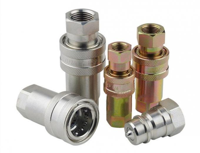 Reusable Brass Hydraulic Pipe Fittings , Hydraulic Quick Coupler Close Type ISO7241-A G-NPT
