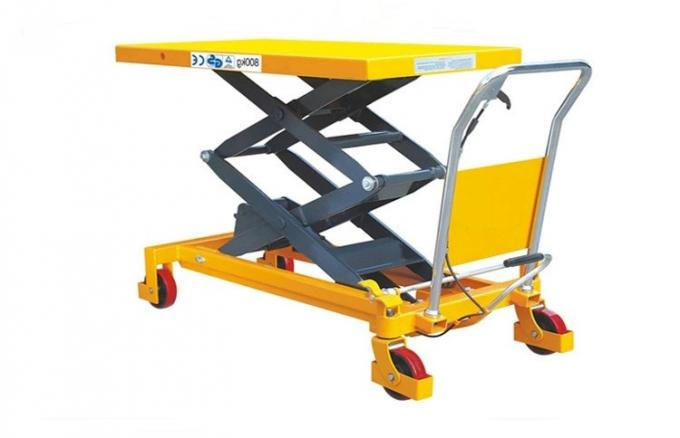 Mobile Hydraulic Scissor Lift Trolley 1025 Mm Lifting Manual 800kg Load 1220*610*60 Mm