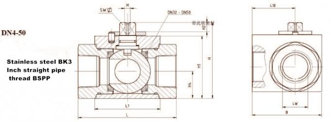 FPM / EPDM Connect High Pressure 3 Way Ball Valve BK2 SK3 Square DN4 - 50mm
