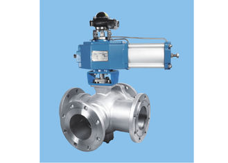 China Ss Instrumentation Control Valves , High Temp Electric Actuated Four Way Ball Valve supplier