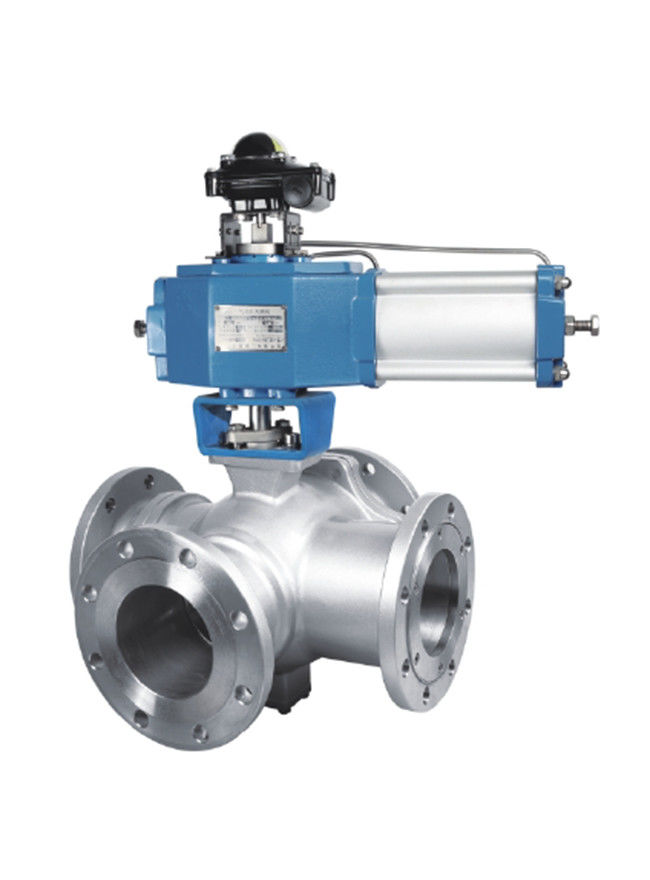 Ss Instrumentation Control Valves , High Temp Electric Actuated Four Way Ball Valve